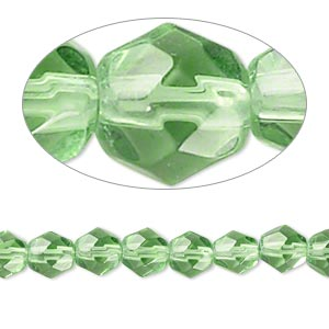 Pale Emerald Green 6mm Faceted Round