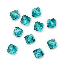 Swarovski Crystal Blue Zircon 6mm Bicone