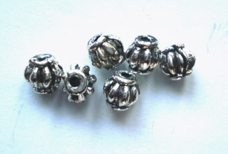 Tibetan Silver Small Barrel bead 3mm