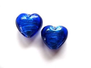 Foil Glass Heart - Blue