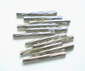 Carved Silver Tube Beads
