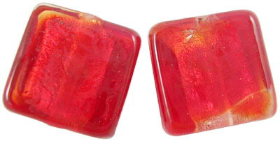 Silver Foil Square Beads - Red 15mm