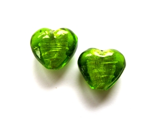 Foil Glass Heart - Lime Green