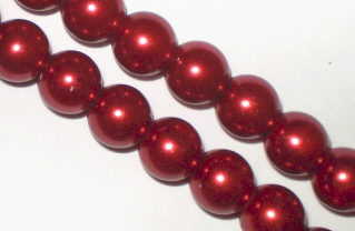 Deep Ruby Glass Pearls 10mm