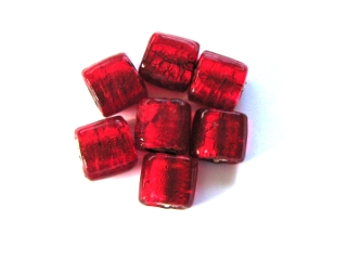 Silver Foil Square Beads - Ruby 12mm