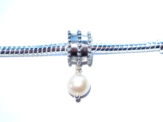 Sterling Silver Pearl Drop Charm