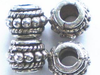 Tibetan Silver Barrel with 4mm hole