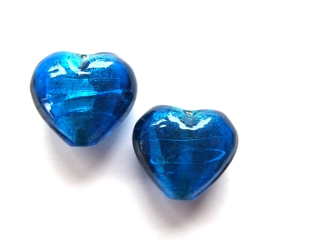 Foil Glass Heart - Turquoise