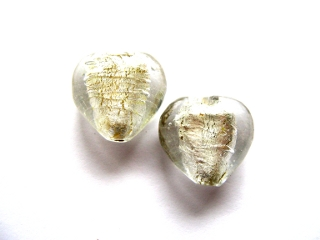 Foil Glass Heart - Ice White